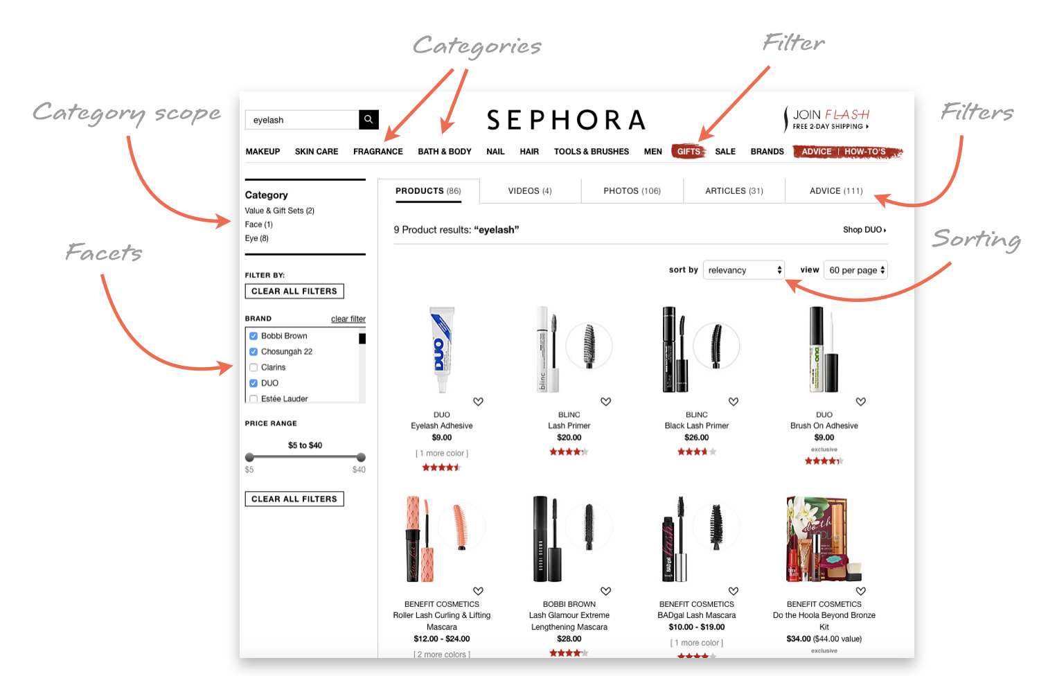 Sephora_Facets_Filters_Categories_Sorting